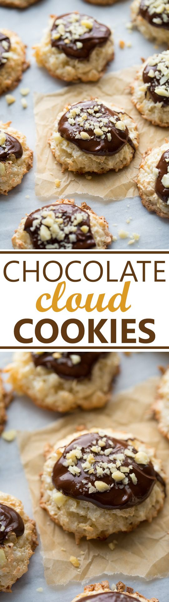 Chocolate Coconut Cloud Cookies! A cross between a meringue and a macaroon. Soft and chewy with crispy edges and covered in chocolate and macadamia nuts! (Gluten-Free)