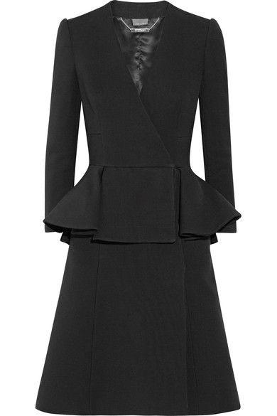 Black wool and silk-blend Concealed snap fastenings along double-breasted front 73% wool, 27% silk Dry clean Made in Italy