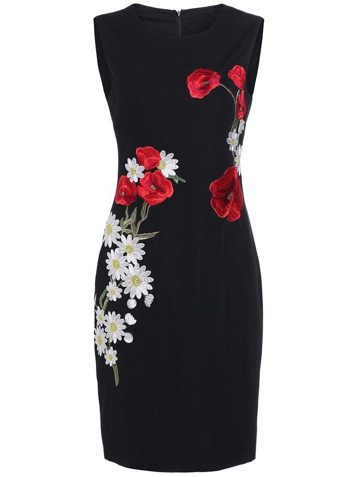 Black+Round+Neck+Sleeveless+Embroidered+Dress+76.67