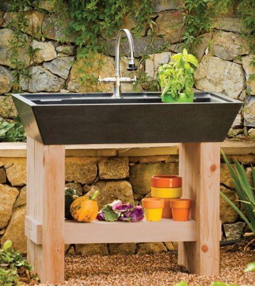 Potting sinkGardens Sinks, Pots Sinks, Outdoor Kitchens, Salus Pots, Stones Forests, Bathroom Sinks, Outdoor Sinks, Forests Salus, Kitchens Sinks