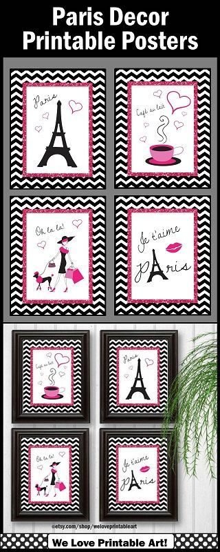 Paris Decor:  Oh la la! These printable posters will be such a great addition to your pink and black home decor.  They are INSTANT DOWNLOAD for quick and easy decorating!  You may print in 8x10, 16x20 or 24x30. https://www.etsy.com/shop/WeLovePrintableArt?ref=listing-shop2-all-items-count&search_query=paris                                                                                                                                                                                 More