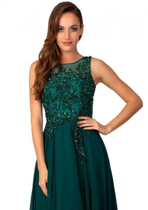 Edles Abendkleid aus Chiffon in Grün - hier günstig online bestellen
