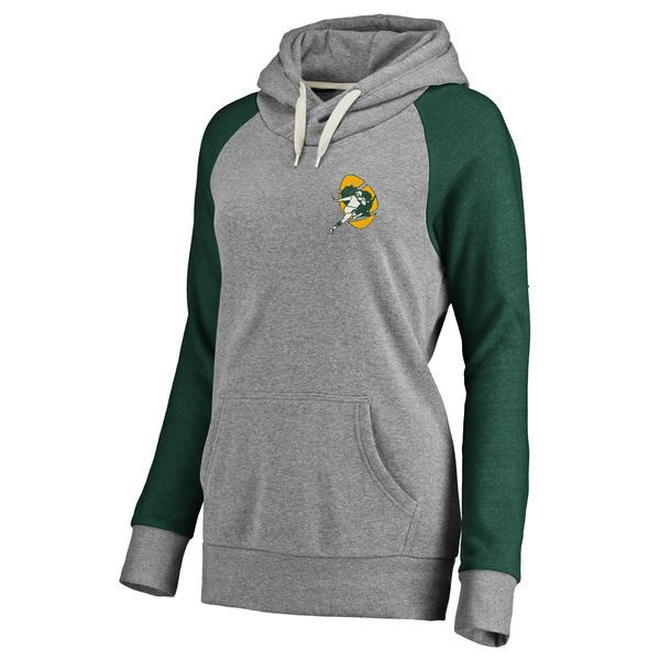 Women's Green Bay Packers NFL Pro Line Heathered Gray Timeless Lounge Script Tri-Blend Pullover Hoodie