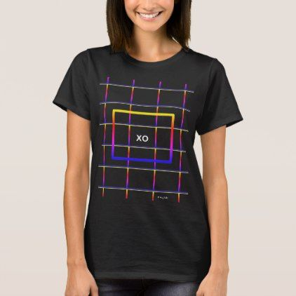 Her Electric Love Field XO Hugs & Kisses Monogram T-Shirt - monogram gifts unique design style monogrammed diy cyo customize