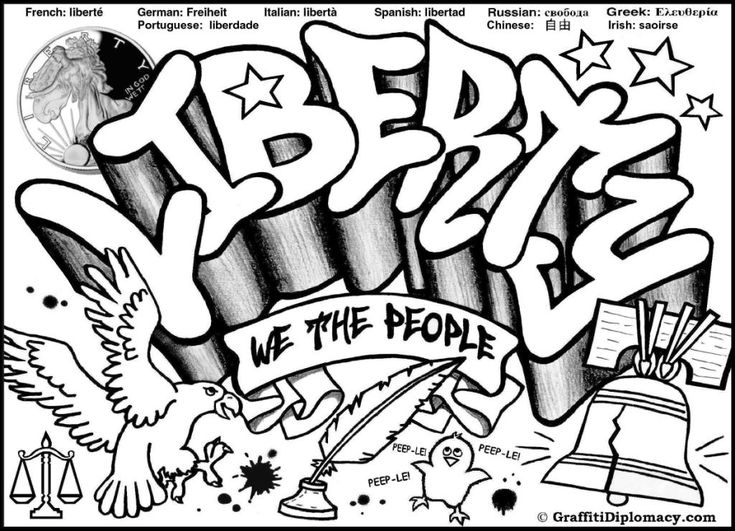 Free graffiti coloring page liberty graffiti free coloring printable for kids graffiti diplomacy great site