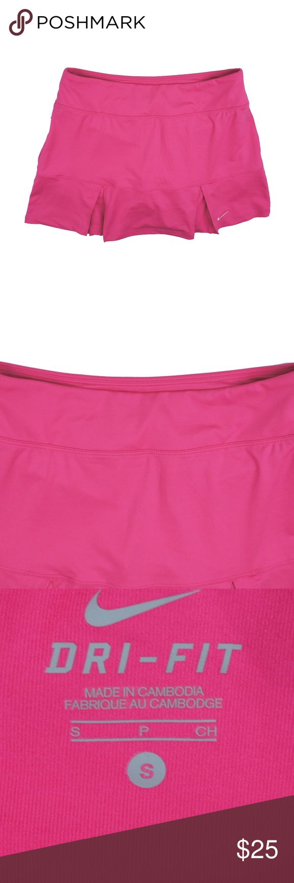 "NIKE Dry Fit Pink Golf Tennis Mini Skirt Skort Size - S  This pink athletic micro mini skirt from NIKE is in excellent condition. Features an elastic banded waist and built in shorts underneath. Polyester & Lycra  Measures:  Waist: 27-30"" (stretches)  Total length: 13"" Nike Shorts Skorts"