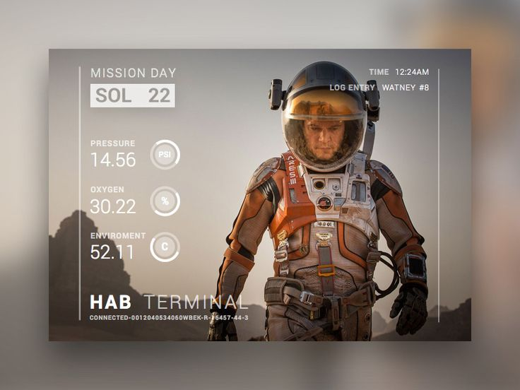 "A minimalistic dashboard concept inspired by the movie ""The Martian""."