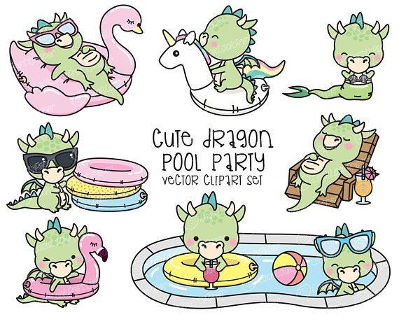 Premium Vector Clipart Kawaii Dragon Cute Dragons Pool Etsy In 2021 Clip Art Cute Dragons Kawaii Clipart