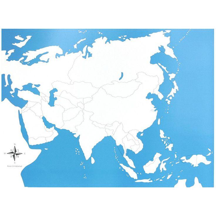 Lámina de control con el mapa de Asia sin los nombres. Este material de lametodología Montessori,es perfecto para que los niños aprendan los nombres de los diferentes países del continente asiático,así como la forma que tienen y la ubicación donde se encuentran. Ideal para usar junto con el puzle de madera del continente de Asia, que se vende por separado. Edad recomendada: a partir de 3 años. Medidas:  Largo: 53,5 cm. Ancho: 41 cm.