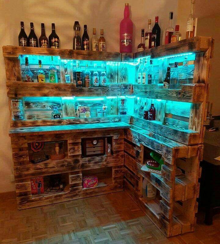 Beleuchtete Bar Aus Paletten Bar Aus Paletten Theke Selber Bauen Und Bar Bauen