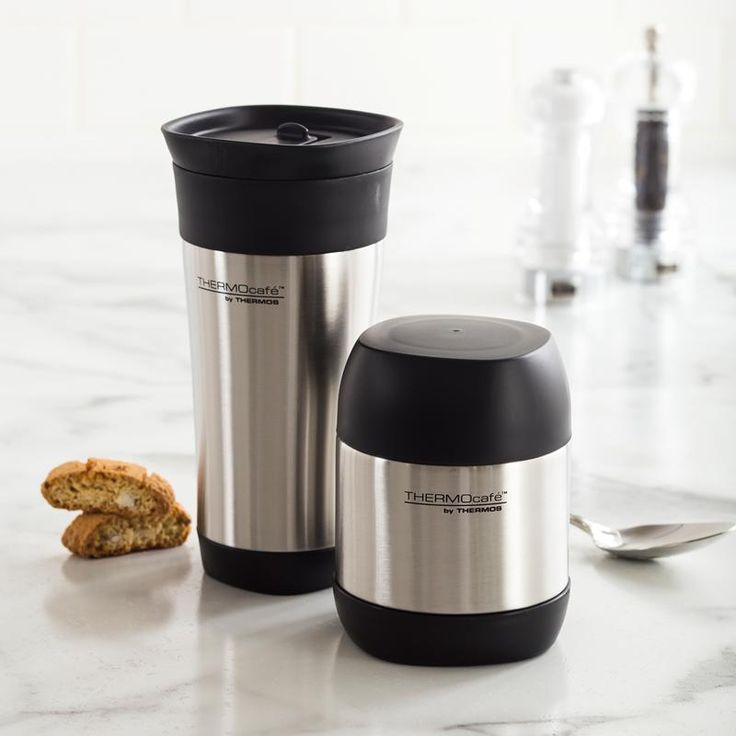 Thermos Thermocafe Tumbler and Food Jar Combo Set/2 350 Ml / 470 Ml Black/Stainless Steel | Kitchen Stuff Plus