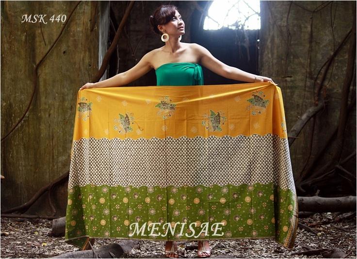 Batik Cirebon/Tulis Kombinasi 115x230 cm/Katun/Kuning Rp 195.000,-