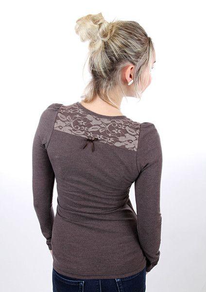 """Longsleeves - MEKO """"Bella"""" Shirt mit Spitze Braun Damen - ein Designerstück von meko bei DaWanda"""