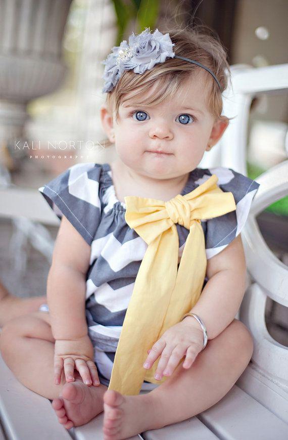Gray and Yellow Chevron Peasant Dress  Baby by MooseBabyCreations, $27.50