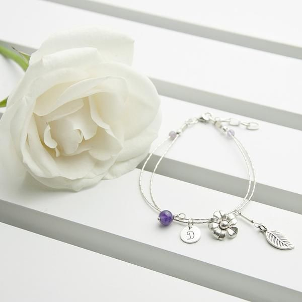Sterling Silver Personalised 'Forget Me Not' Bracelet - Amethyst