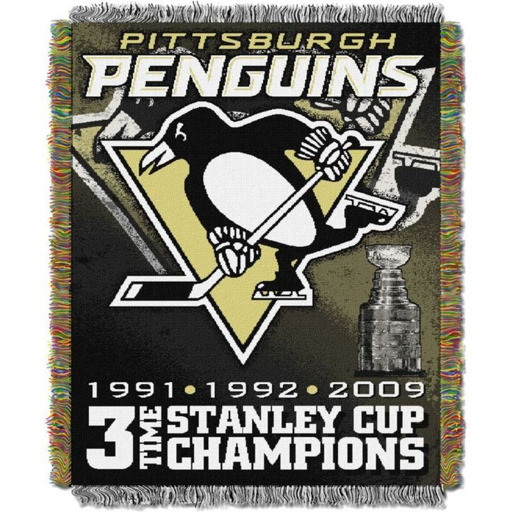 Northwest Pittsburgh Penguins 3-Time Stanley Cup Champions Tapestry Throw Blanket, Team