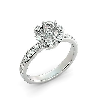 Cushion Cut Halo Round Natural Diamond Engagement Ring Semi Mount 14k W Gold .50