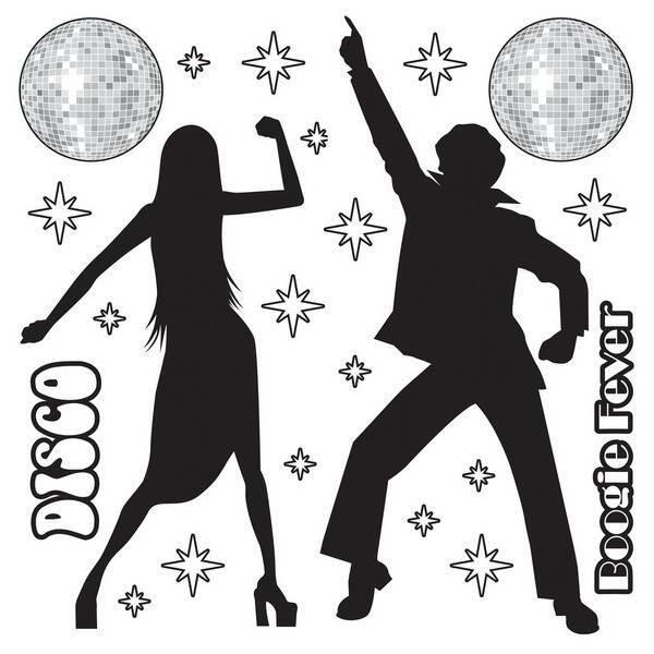 Een pak met verschillende wanddecoraties om op te plakken tijdens een disco themafeest. Afmetingen: <br>8cm tot 160cm. Als u deze losse decoraties over de gekleurde disco wanddecoraties heen plakt is het <br>effect maximaal. foto 1