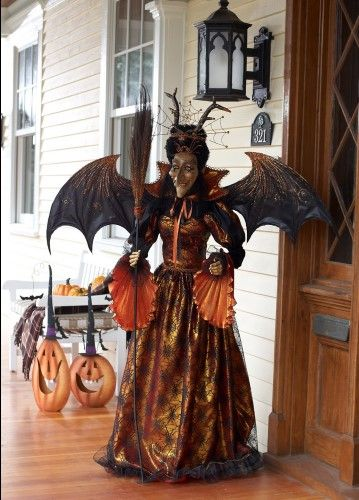 5' Life-Sized Decorative Plush Spooky Witch with Broom Halloween Decoration