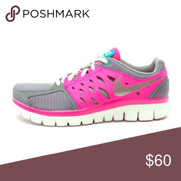 Nike Flex 2013 Run Grey Pink Running Shoes! Size 5y! Nike Shoes Sneakers