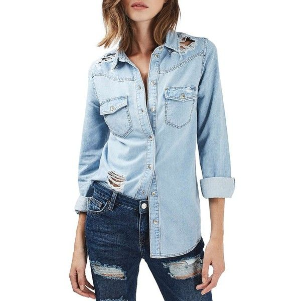 Women's Topshop Moto Ripped Denim Shirt ($60) ❤ liked on Polyvore featuring tops, light denim, button front top, button front shirt, distressed shirt, slouchy tops and denim top