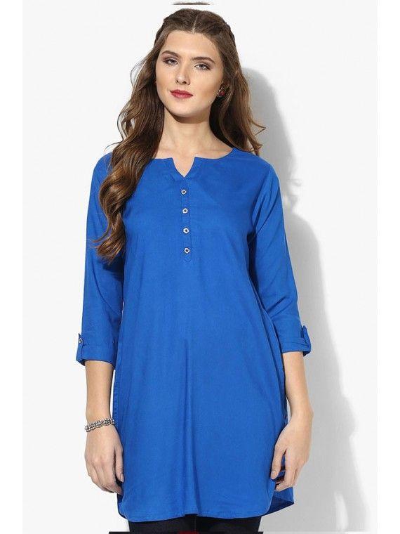 Tangerine Dark Blue Party Wear Tunic
