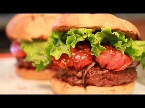 Juicy Lucys - Best Burger Recipe - These Juicy Lucy burgers are famous in Minnesota, where they're classically made with American cheese. In this episode, Jason and Jack make these gourmet burgers two ways. Jack prepares his Juicy Lucy recipe traditional style, while Jason glams his up Jucy Lucy recipe with balsamic-glazed tomatoes, fresh mozzarella cheese and grilled onions.