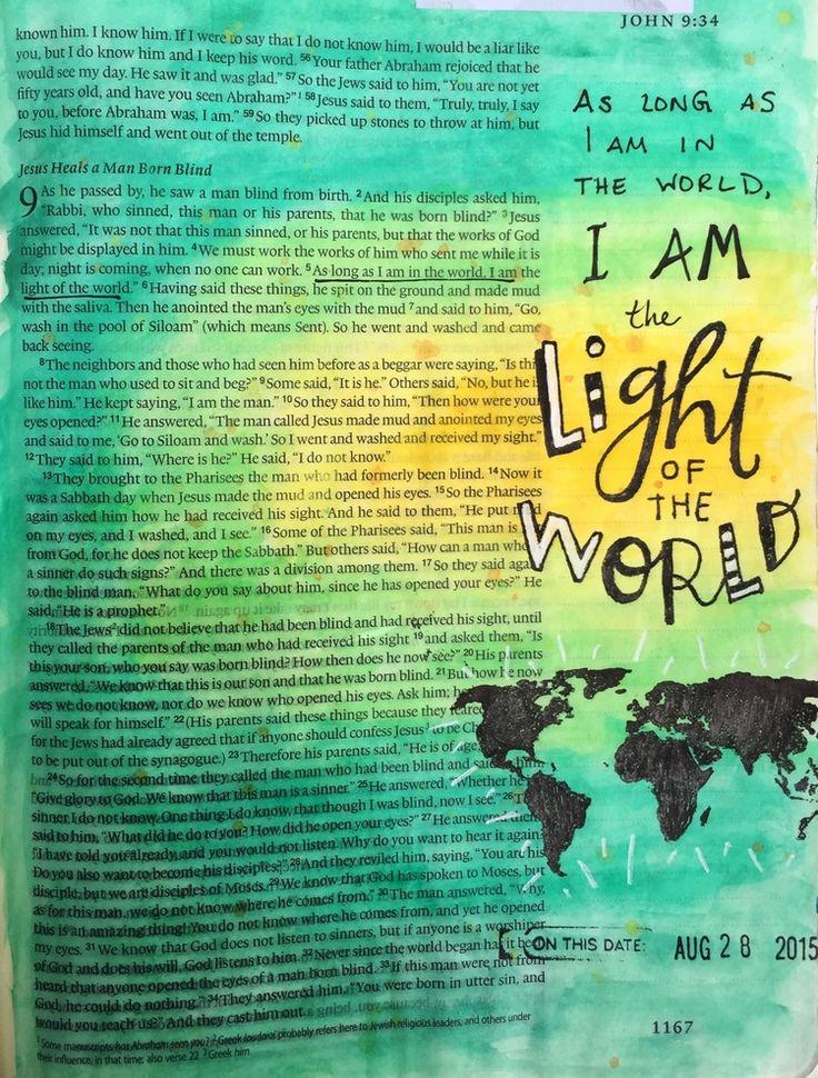 Bible journaling, John 9:5 — Arden Ratcliff-Mann #illustratedfaith