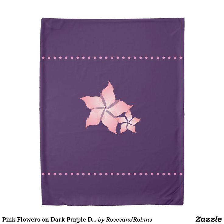 Pink Flowers on Dark Purple Duvet Cover