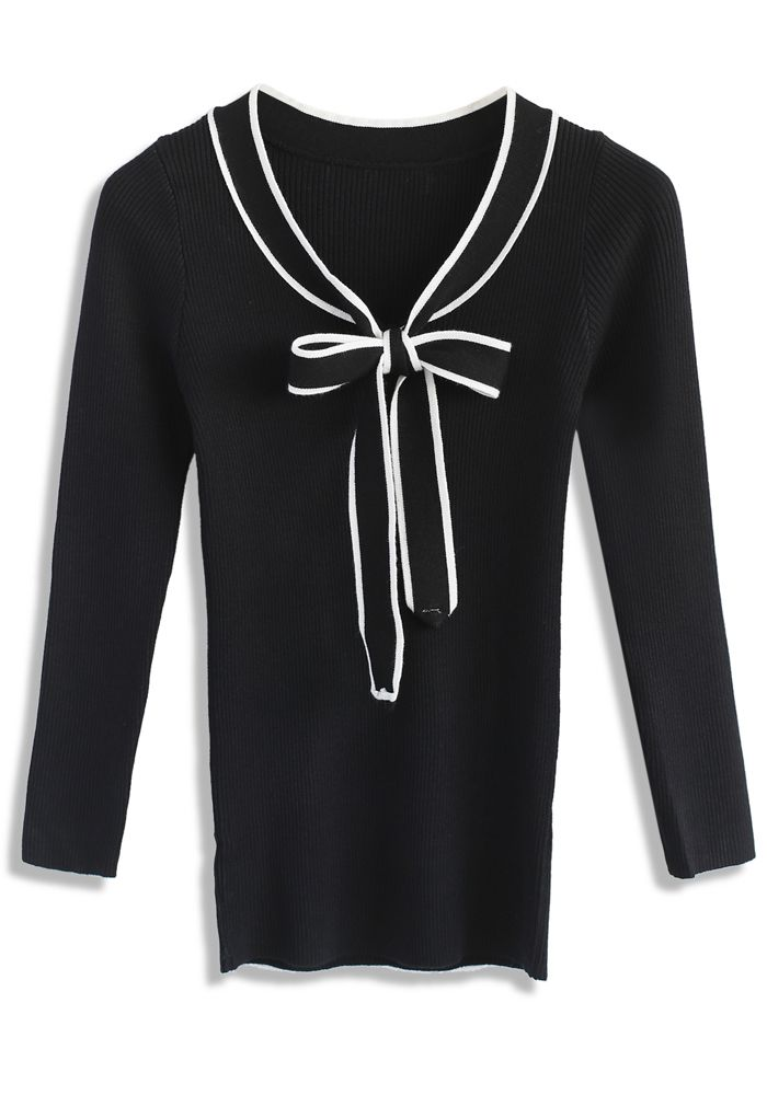 Simple Lovely Ribbed Knit Top in Black  - New Arrivals - Retro, Indie and Unique Fashion