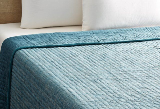 Herringbone Pick Stitch Quilt, Denim