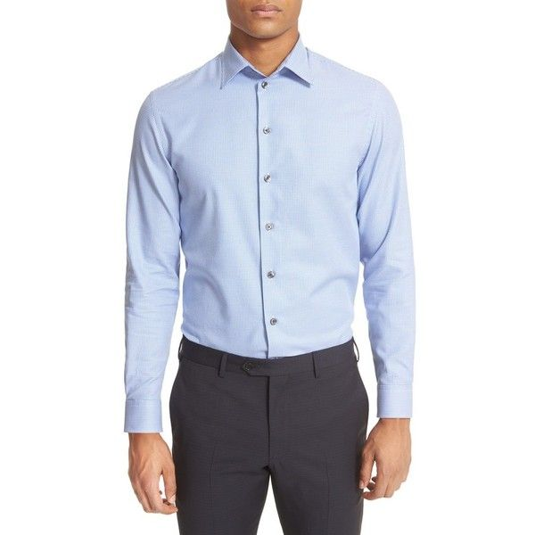 Men's Armani Collezioni Trim Fit Micro Houndstooth Dress Shirt (1,070 ILS) ❤ liked on Polyvore featuring men's fashion, men's clothing, men's shirts, men's dress shirts, blue, mens tailored dress shirts, mens print shirts, mens blue shirt, mens cotton dress shirts and mens blue leopard print shirt