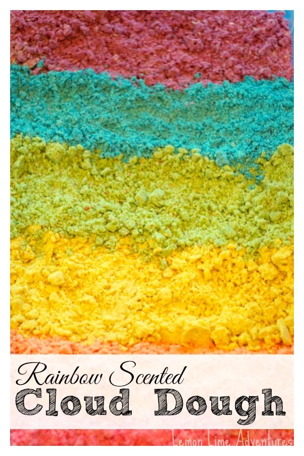 Rainbow Scented Cloud Dough: Part of 12 months of Sensory Dough Series so lots of ideas for scented doughs.