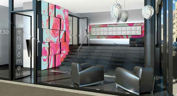 Projet de création d'un mur d'images lumineux, Immeuble de logements collectif Vendôme Rive Gauche, Cogedim Grand Lyon. Design mural, Karine Montreuil, Atelier Kaali. http://design-mural.com/