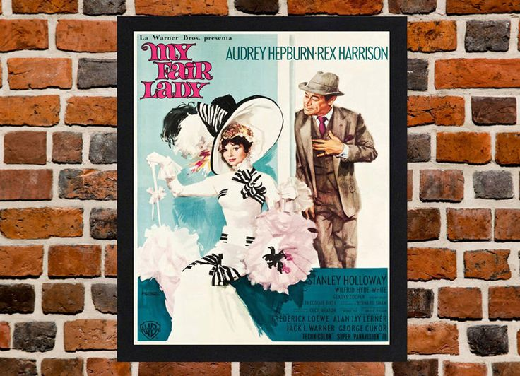 Framed My Fair Lady Audrey Hepburn Italian Movie / Film Poster A3 Size Mounted In Black Or White Frame