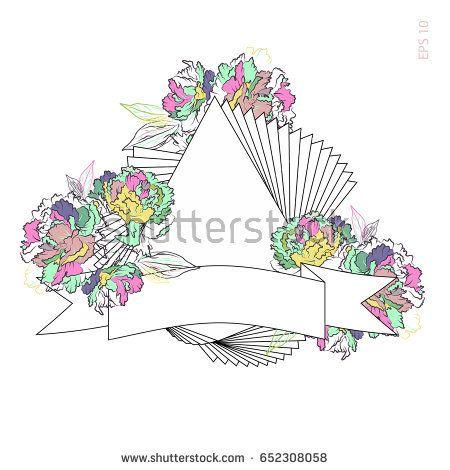 Trendy summer peonies flowers. Beautiful vintage frame. Invitation card. Vector illustration EPS10.