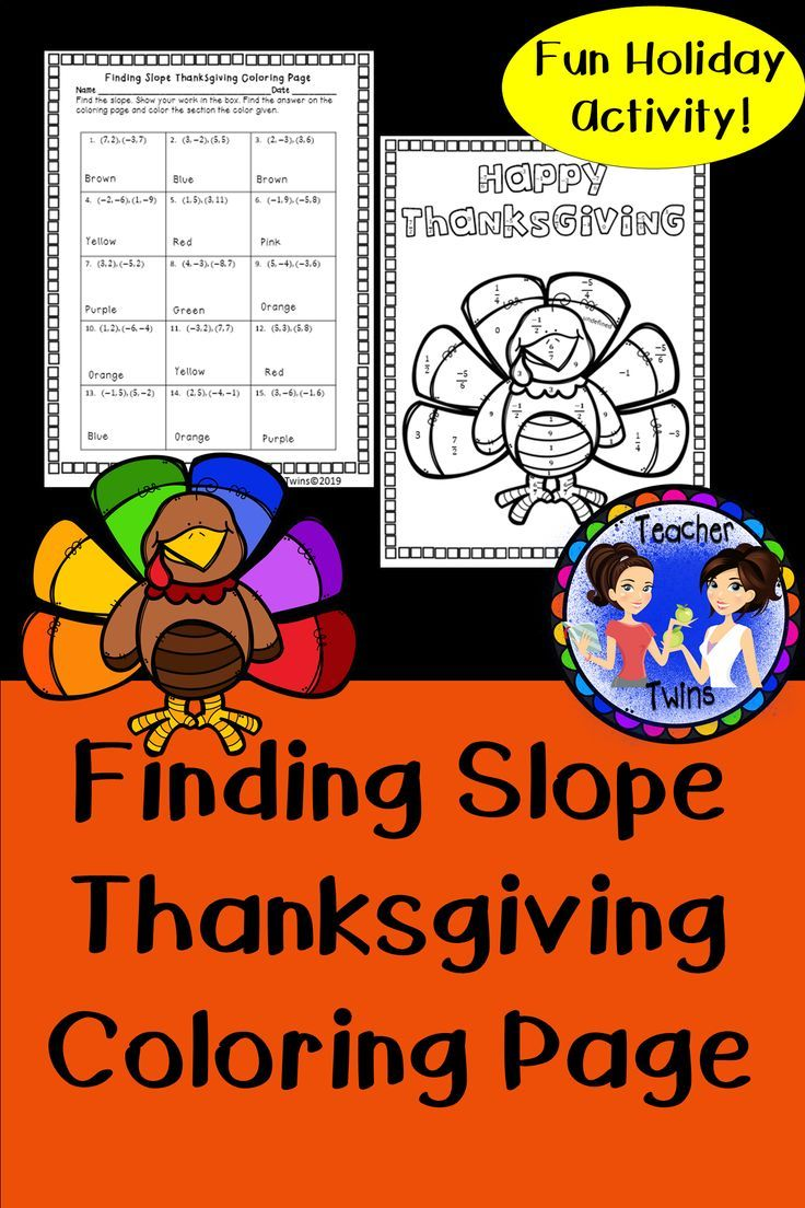 Finding Slope Thanksgiving Coloring Page Thanksgiving Coloring