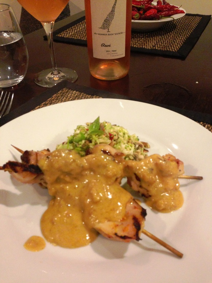 Satay chicken, cabbage broccoli Thai slaw