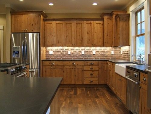 Knotty alder wood shaker style cabinets apron sink and a for Alder shaker kitchen cabinets