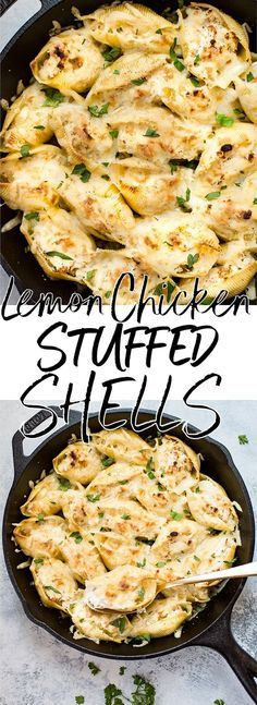 This lemon chicken stuffed shells recipe is easy, cheesy, and delicious. Three different kinds of cheeses and flavorful lemon chicken are baked to melty perfection. This recipe makes an awesome comfort food dinner! #stuffedshells #lemonchicken #chickenpasta