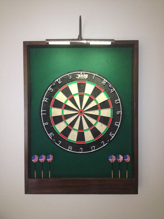 LIGHTED Hunter Green w/ Dark Brown Trim Dart Board by JaysProjects, $114.99