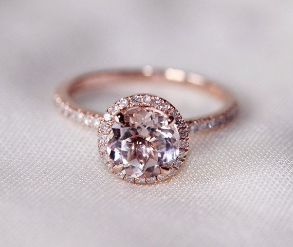 Round Cut 7mm VS Halo Morganite Ring 14K Rose Gold SI H Diamonds Wedding Ring