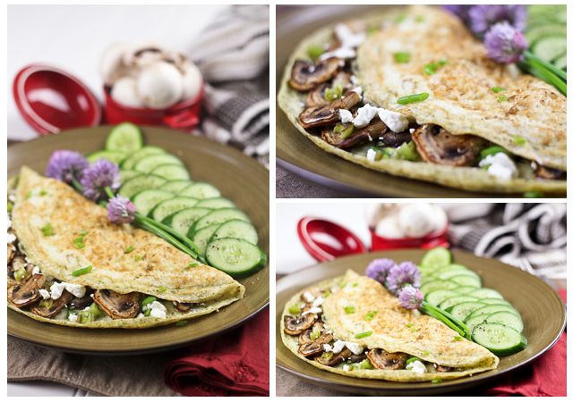 Mushroom, Green Onion and Goat Cheese Egg White Omelet