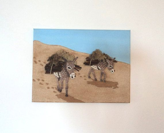 Acrylic Painting, Artwork with Seashells, Art Wall Picture of Donkeys, Donkeys in Seashell Mosaic, Mosaic Art, 3D Art Collage, Home Decor, Wall Decor #ArtworkwithSeashells #mosaiccollage #seashellmosaic #homedecor #walldecor #3D