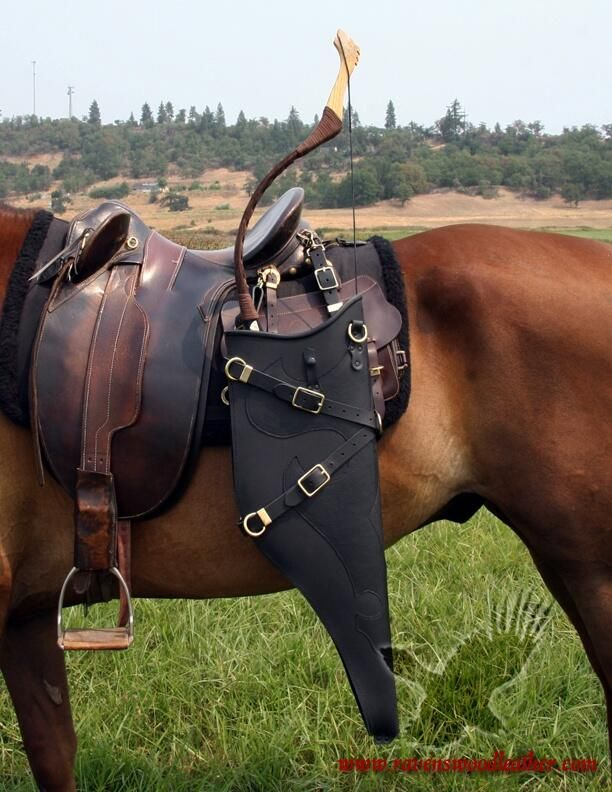 Aussie saddle with bow scabbard