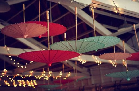 YES!!  paper parasol wedding decor