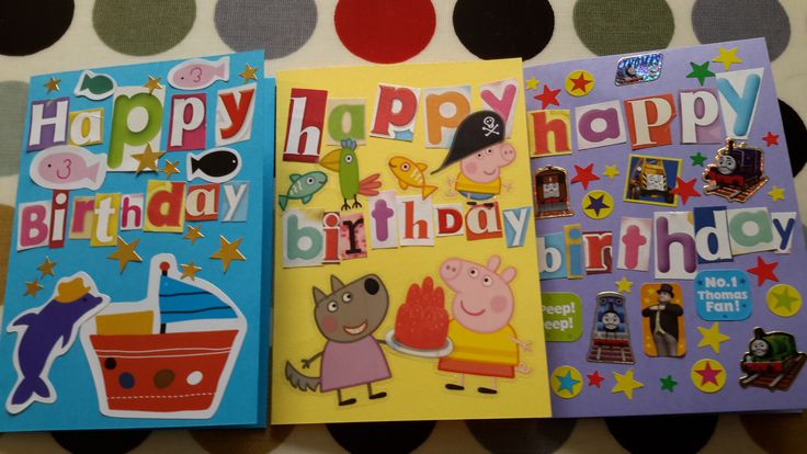Greetings cards made with 3yo. Ransom note style, using stack of old children's magazines & stickers. Good for practising letter recognition.