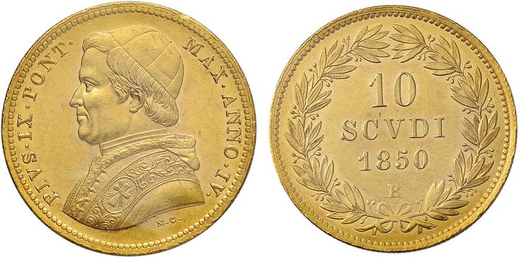 NumisBids: Nomisma Spa Auction 50, Lot 296 : Pio IX (1846-1878) 10 Scudi 1850 A. IV – Pag. 347; Mont. 72 AU RRR...