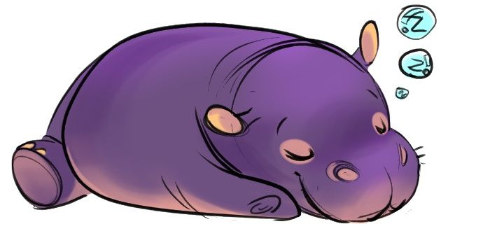 Hippo Drawing Cute Hippo Drawing Potential Body
