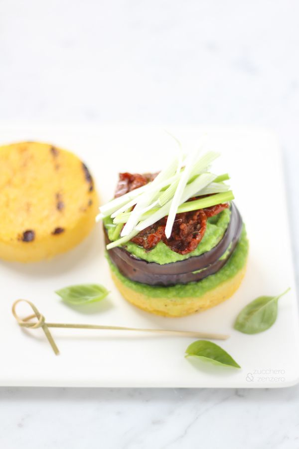 Vegan and glutenfree eggplant and polenta hamburger. Click to read the recipe or save this pin for later!